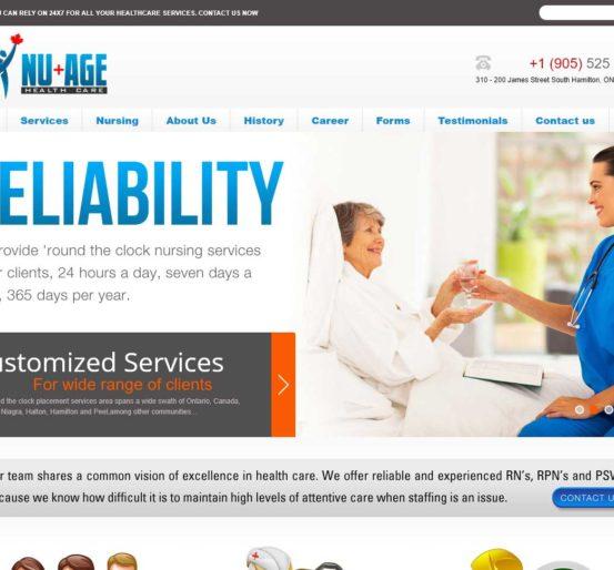 Nu-age Healthcare Website